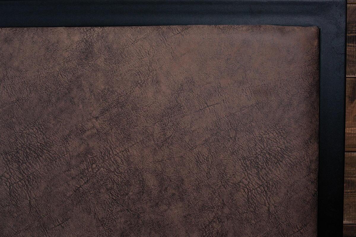 Каркас - черный/ Изголовье (искусственная замша) - коричневый