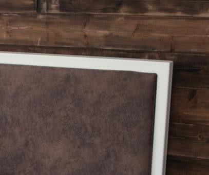 Каркас - белый/ Изголовье (искусственная замша) - коричневый
