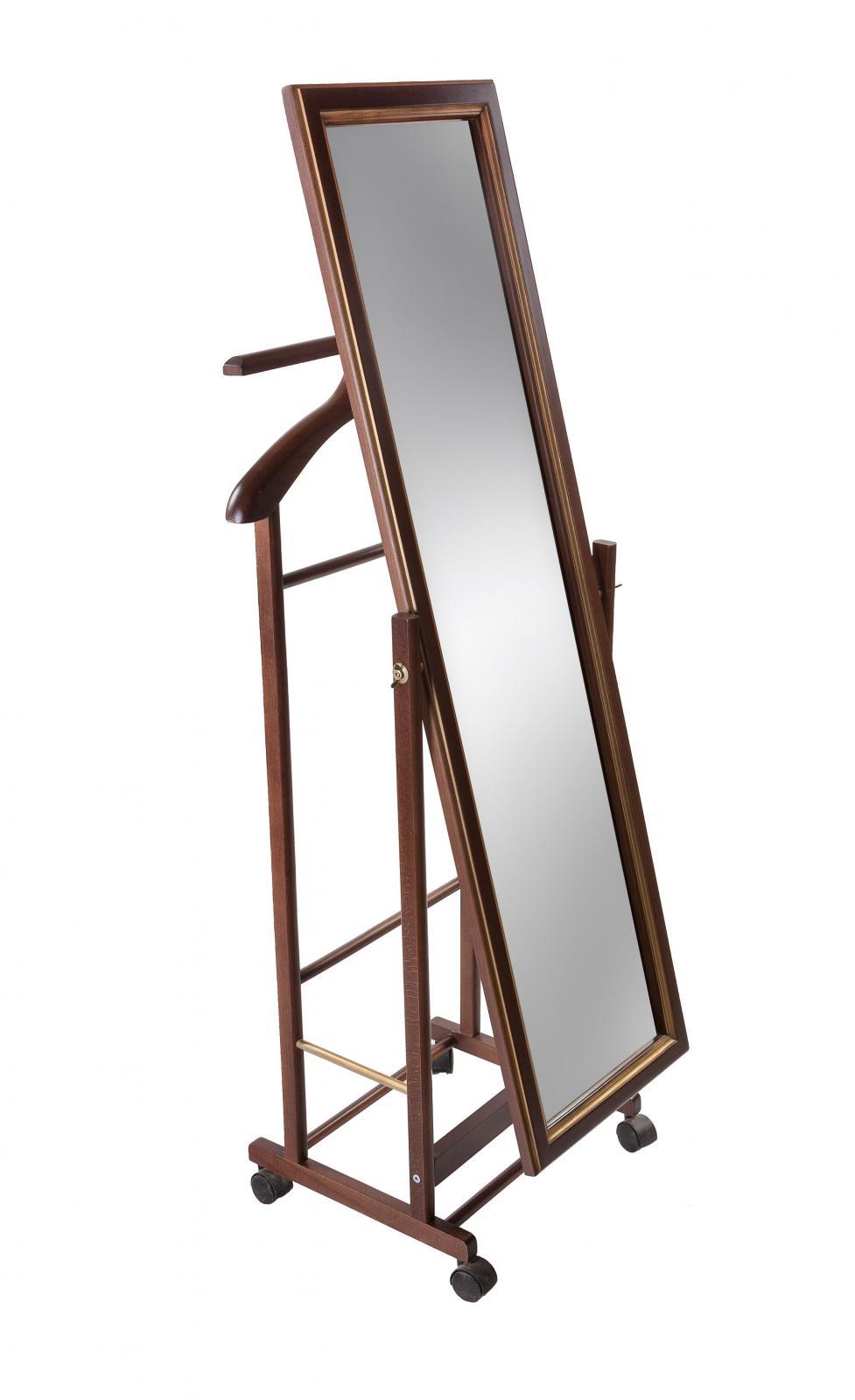 Вешалка костюмная Мебелик В 24Н с зеркалом на колесах венге