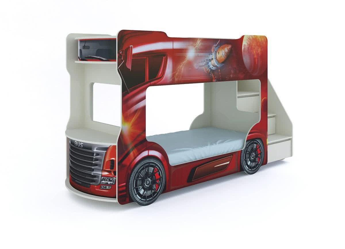 Кровать-машинка двухъярусная Автобус с матрасами