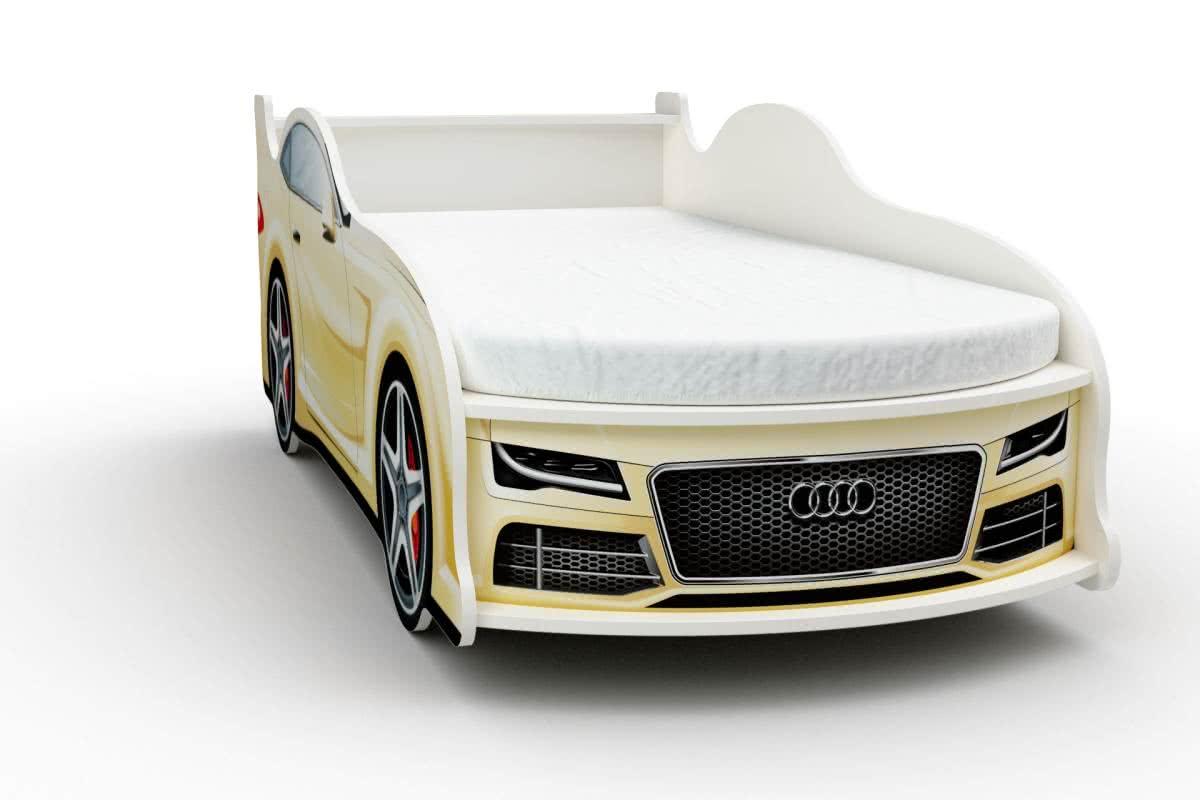 Кровать-машинка Ауди мини с матрасом Бети хлопок