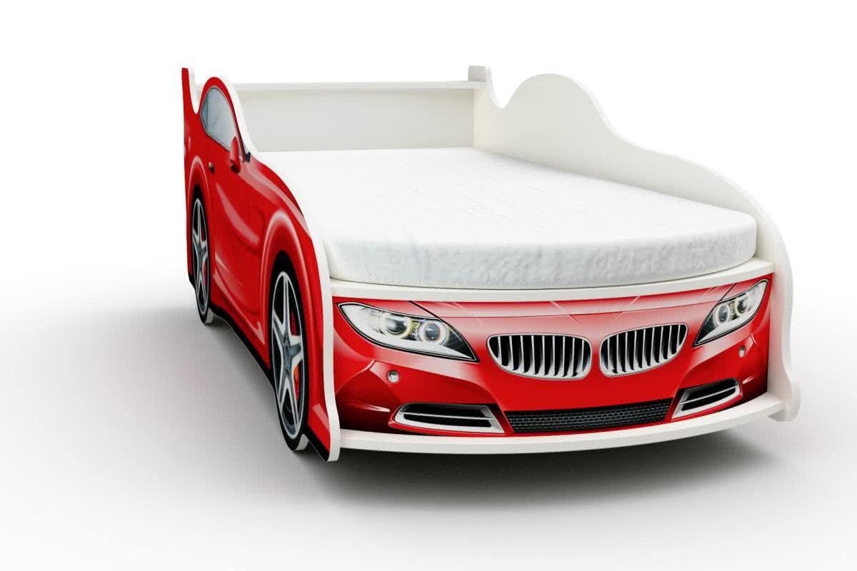 Кровать-машинка БМВ мини с матрасом Бети хлопок