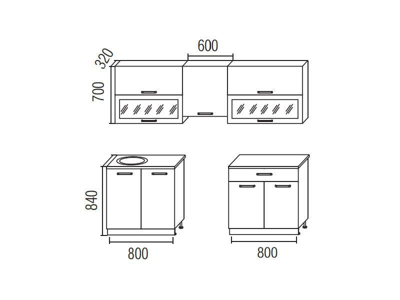 Кухонный гарнитур Симпл 2200 (I кат)