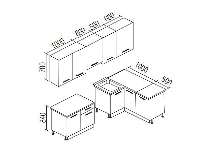 Кухонный гарнитур Симпл 2700х1500 (I кат)