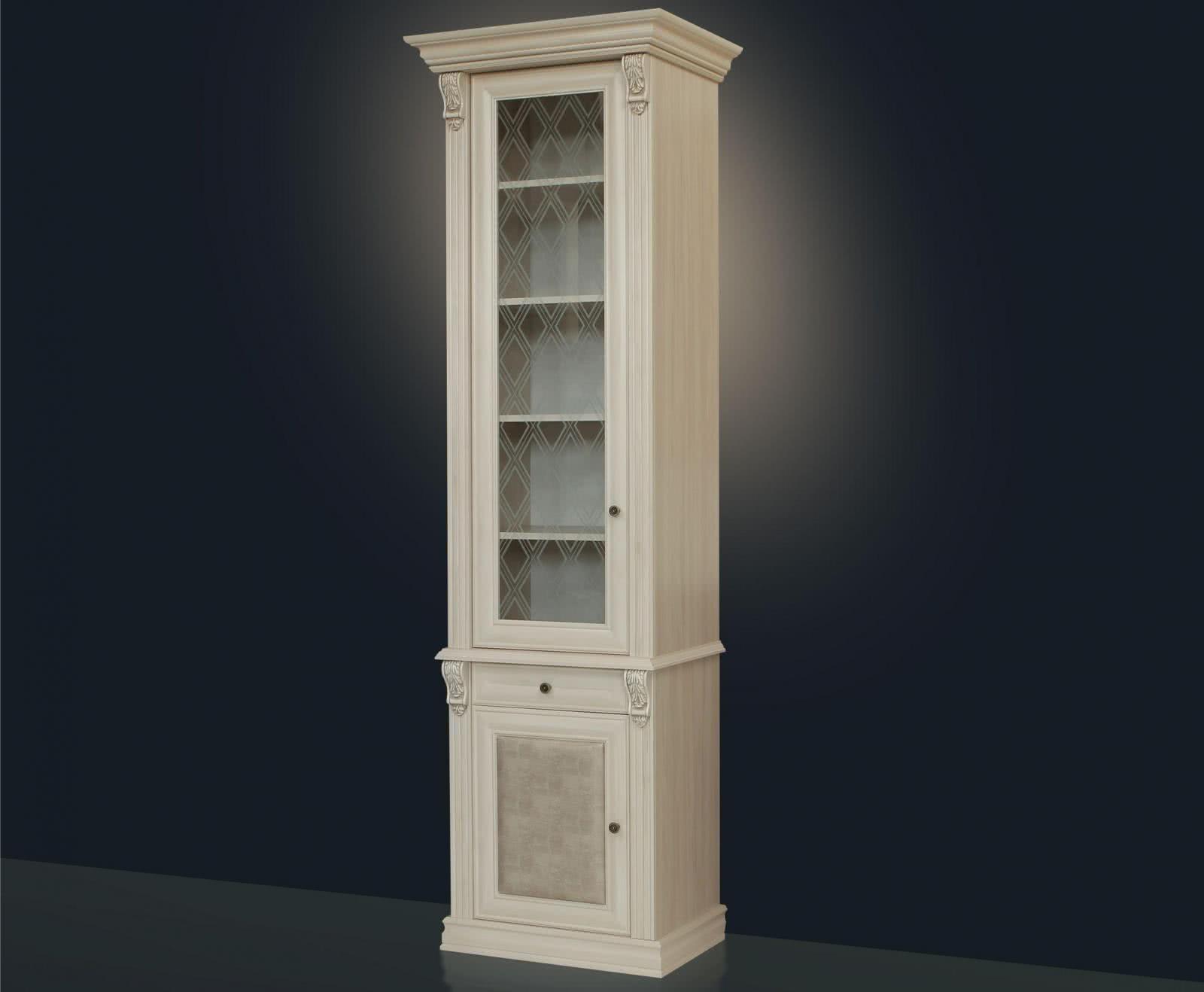 Шкаф для книг 1-ств. с зеркалом и стеклянными полками караме.