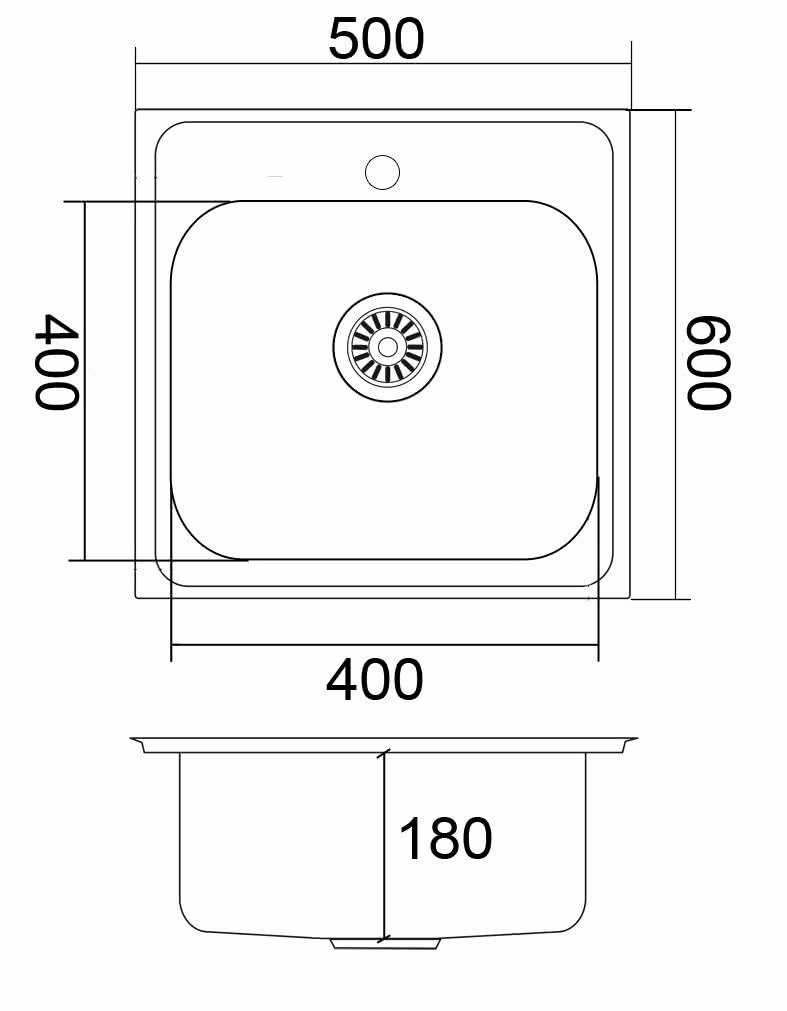 Мойка накладная ЕМ-5060 500x600