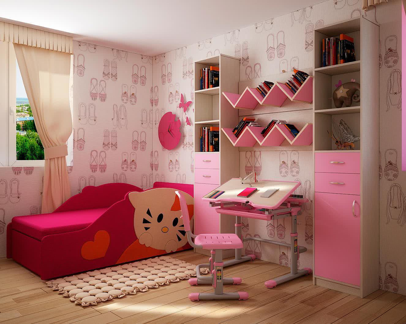 Стенки в детскую комнату :: детский диван китти + парта + ст.