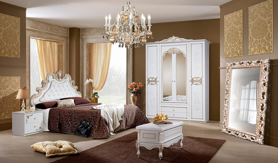 Спальня КМК Розалия белая, патина золото