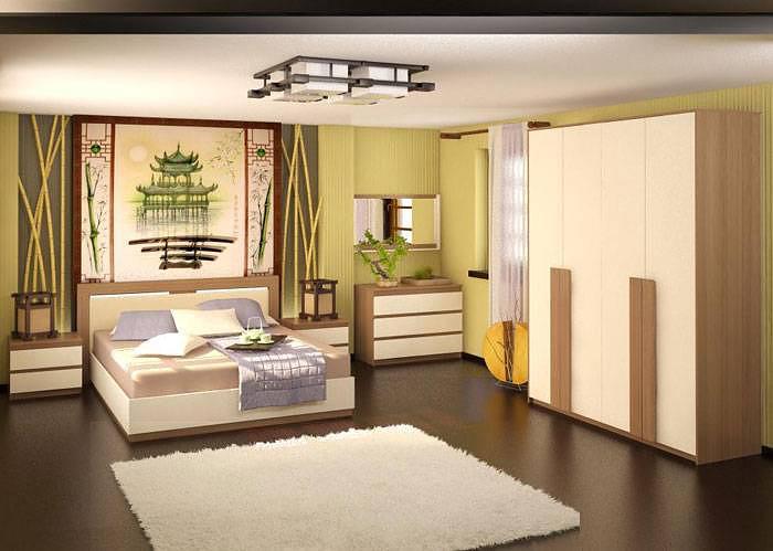 Стили дизайна спален: спальня в восточном стиле (Ижмебель «Ивона»)