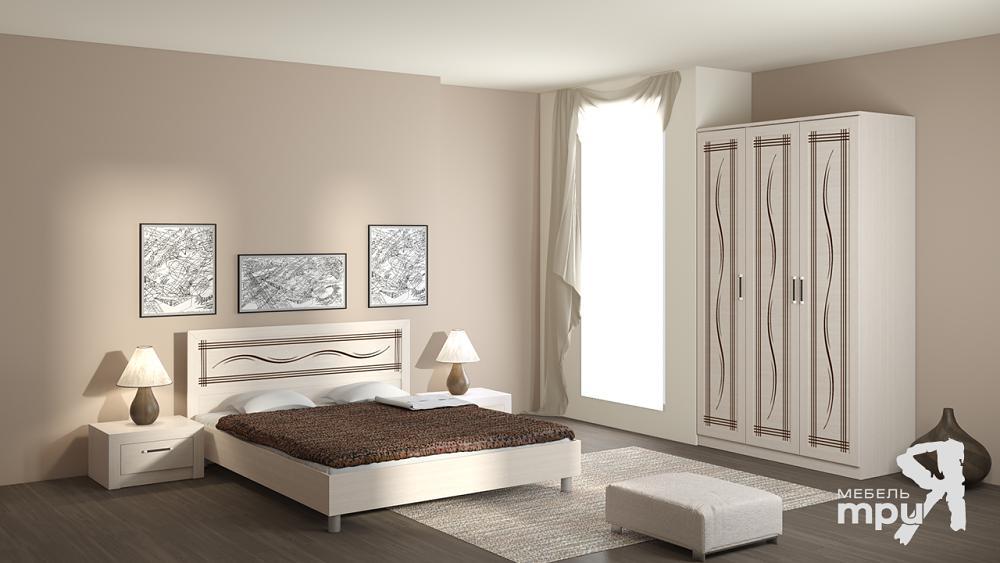 Спальня ТриЯ Токио Дуб Белфорт с рисунком Линии
