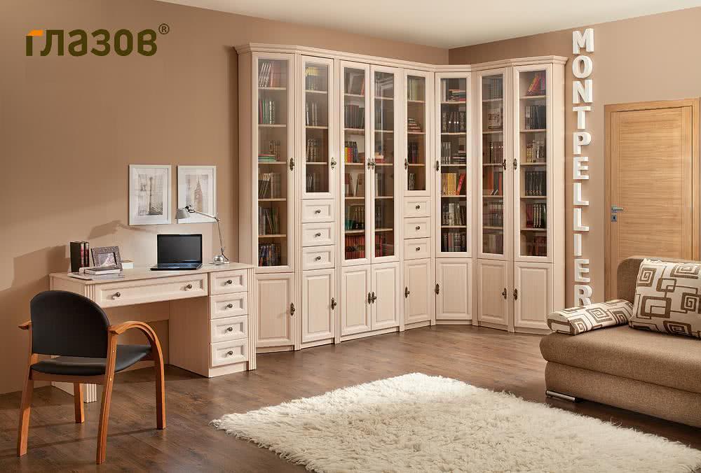 Книжные шкафы в стиле прованс для гостиной цвета светлого ду.