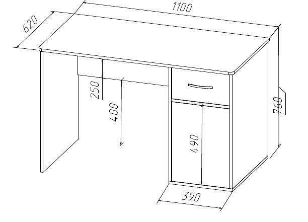 схема иразмер стола письменного Фанки Кидз 9.