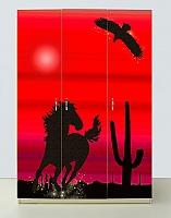 Шкаф 3х дверный Мустанг красный