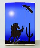 Шкаф 3х дверный Мустанг синий