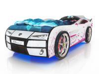 Кровать-машинка Romack Kiddy Белая - Розовая лоза