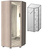 Шкаф угловой с зеркалом ГРОС Латте, Ла-7 (рамка МДФ)