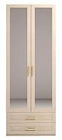 Шкаф Ижмебель Скандинавия Люкс 2х дверный для одежды с ящиком и зеркалом, мод.1