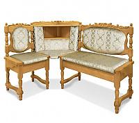 Угловой диван Шале Картрайд с резьбой левый (белый, слоновая кость)