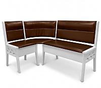 Угловой диван Шале Кристофер с резьбой (белый, слоновая кость)