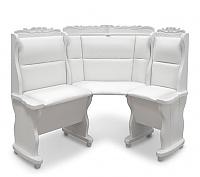 Угловой диван Шале Себастьян с резьбой (1100 мм) правый (белый, слоновая кость)