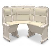 Угловой диван Шале Себастьян с резьбой (1100 мм) левый (белый, слоновая кость)