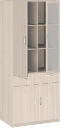 Шкаф Боровичи Соло 2х дверный со стеклом и ящиками 20.24
