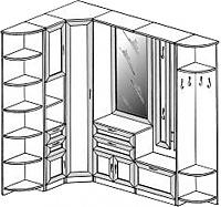 Прихожая угловая ГРОС Алёна 16 (рамка)