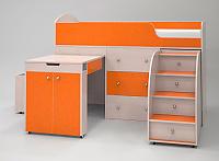 Кровать-чердак Малыш (дуб молочный/оранжевый)