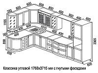 Кухонный гарнитур трапеза 1760х3715 мм с