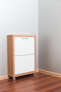 Шкаф обувной Айрон Люкс белое стекло 2с