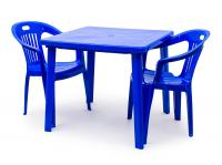 Набор пластиковой мебели Стандарт Пластик Стол квадратный (800х800х710) + Кресло №5 Комфорт-1 (540x535x780мм), 2 шт.