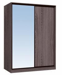 Шкаф-купе Глазов 1600 Домашний зеркало/лдсп + шлегель, Ясень Анкор темный