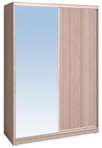 Шкаф-купе Глазов 1600 Домашний зеркало/лдсп + шлегель, Ясень шимо светлый