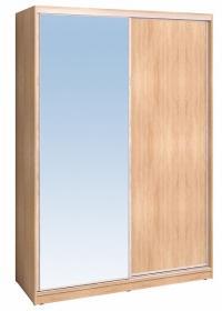 Шкаф-купе Глазов 1600 Домашний зеркало/лдсп + шлегель, Дуб Сонома