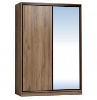 Шкаф-купе Глазов 1600 Домашний зеркало/лдсп + шлегель, Дуб табачный Craft