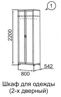 Шкаф 2х дверный для одежды Ижмебель Брайтон, арт.01