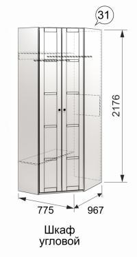 Шкаф угловой Ижмебель Скандинавия, арт. 31