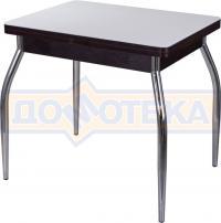 Стол кухонный Домотека Чинзано М-2 ВН ст-БЛ 01 венге, стекло белое