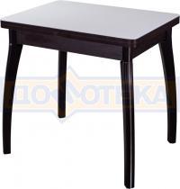 Стол кухонный Домотека Чинзано М-2 ВН ст-БЛ 07 венге, стекло белое