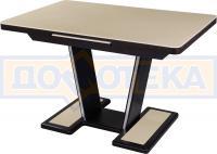 Обеденный стол с камнем Домотека Реал ПР-1 КМ 06 ВН 03-1 ВН, венге/камень песочного цвета
