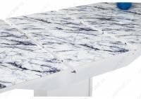 Стол стеклянный Ригель белый мрамор / белый