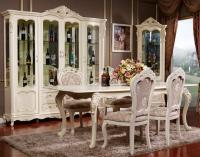 Стол обеденный раскладной МИК Глория MK-2723-WG Молочный с золотом