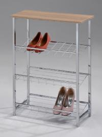 Обувница МИК Мебель MK-6335 Хром/Натуральное дерево