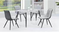 Стол обеденный МИК Мебель MK-6940-MB Белый мрамор/Черный