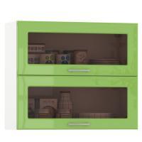 Кухня Сандра ваниль глянец/белый Шкаф навесной 800 витрина горизонтальный 2 двери, ШхГхВ 80х32х68 см